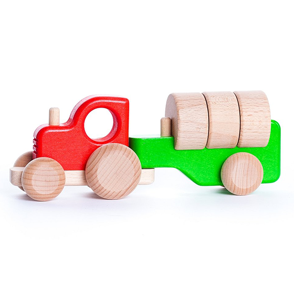 Bajo Wooden Tractor with Trailer and Blocks