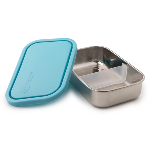 Divided Rectangle Stainless Steel Containers - Sky