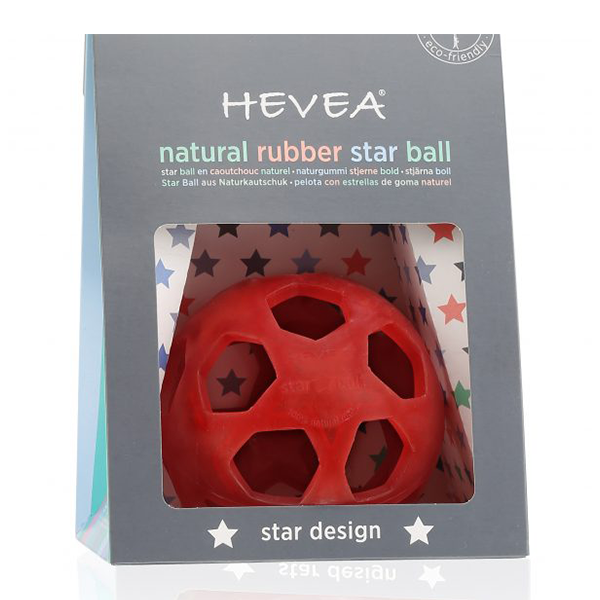 Hevea Natural Rubber Star Ball - Raspberry