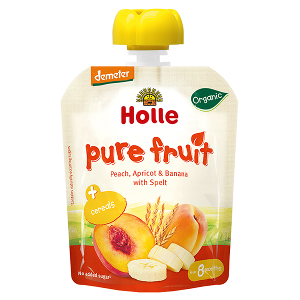 Holle Baby Food Pouches - Peach Apricot & Banana with Spelt