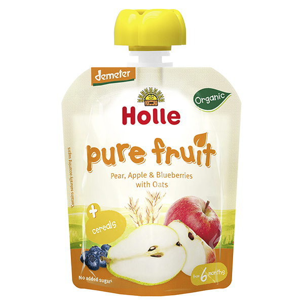 Holle Organic Baby Food Pouches Pear, Apple & Blueberry with Oats