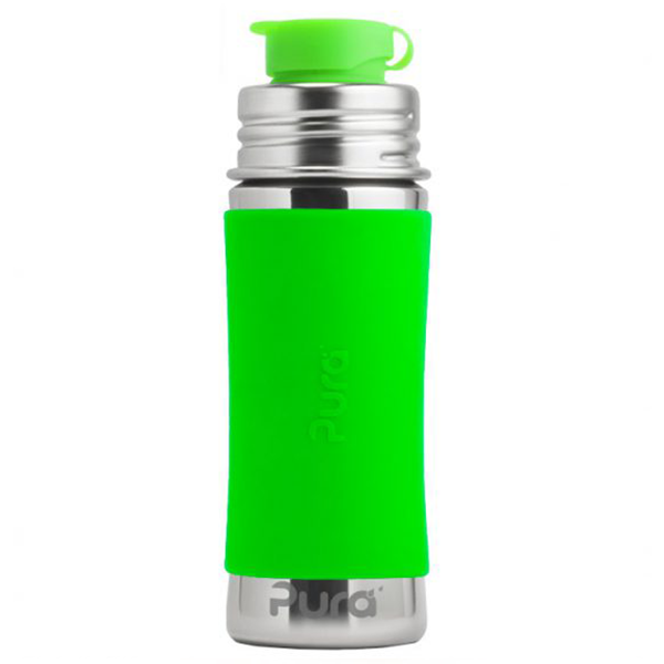 Pura Sports Top 11oz Stainless Steel Bottle - Green Sleeve