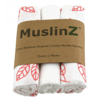 MuslinZ Bamboo & Organic Cotton Muslin Squares Coral (3pk)