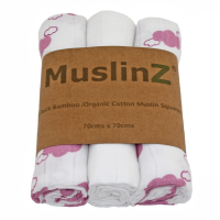 MuslinZ Bamboo & Organic Cotton Muslin Squares Pink Lavender Clouds (3pk)