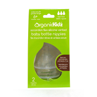 OrganicKidz Silicone Nipple Fast Flow 6+ mth - 2pack