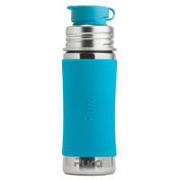 Pura Sports Top 11oz Stainless Steel Bottle - Aqua Sleeve