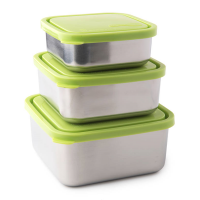 Square Nesting Trio Stainless Steel Containers - Lime