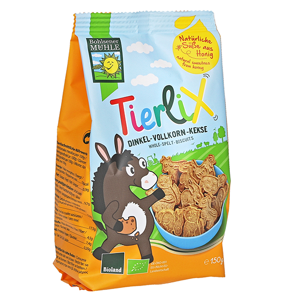 Bohlsener Mill Organic Tierlix Animal Shaped Spelt Biscuits