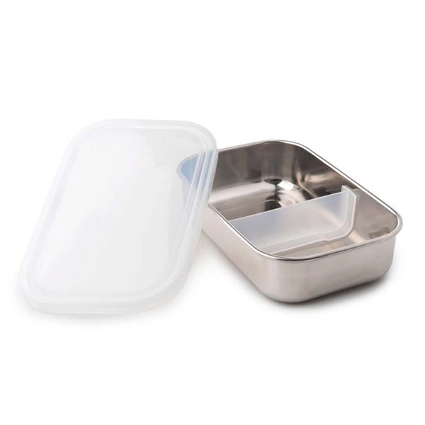 Divided Rectangle Stainless Steel Containers - Clear