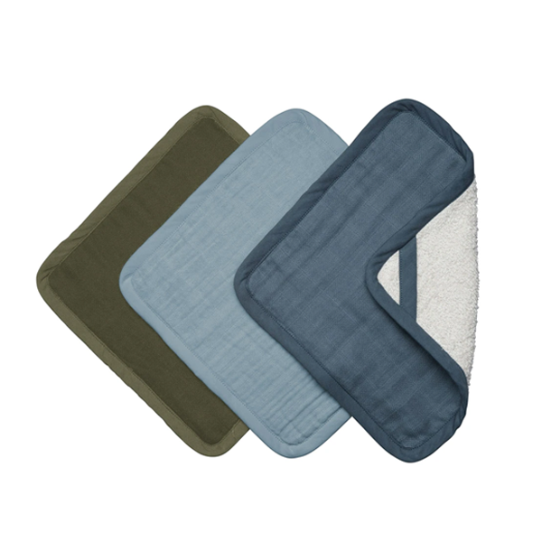 Fabelab Organic Washcloth 3 Pack - Coastal
