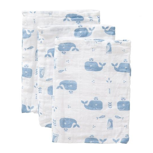 Fresk Organic Washcloth Set - Blue Whale