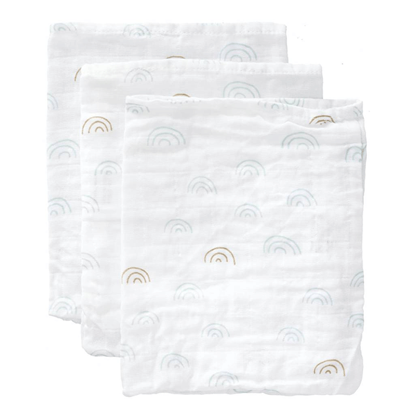 Fresk Organic Washcloth Set - Blue Rainbow