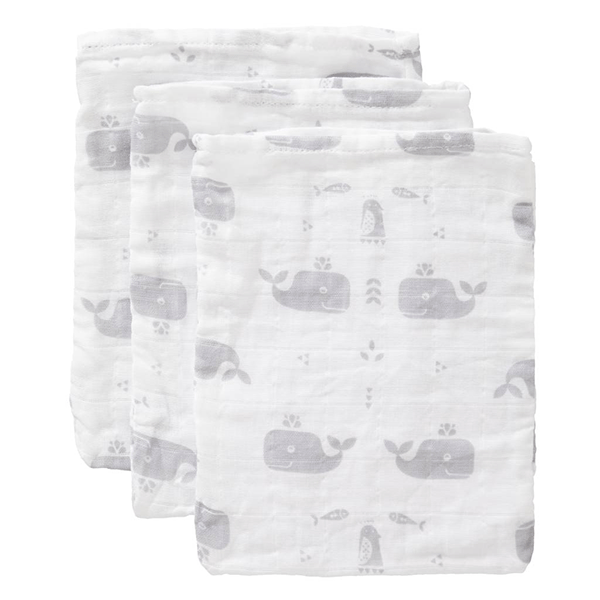 Fresk Organic Washcloth Set - Whale Dawn Grey