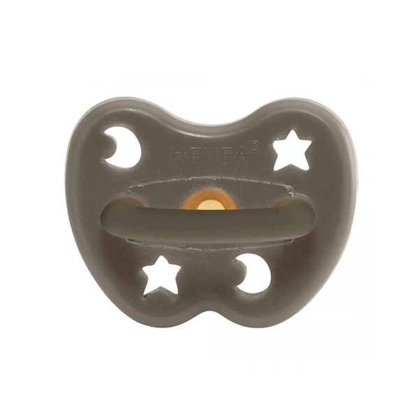 Hevea Natural Round Soother Shiitake Grey 0-3 months