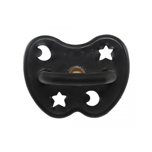 Hevea Natural Round Soother Outer Space Black 3-36 months