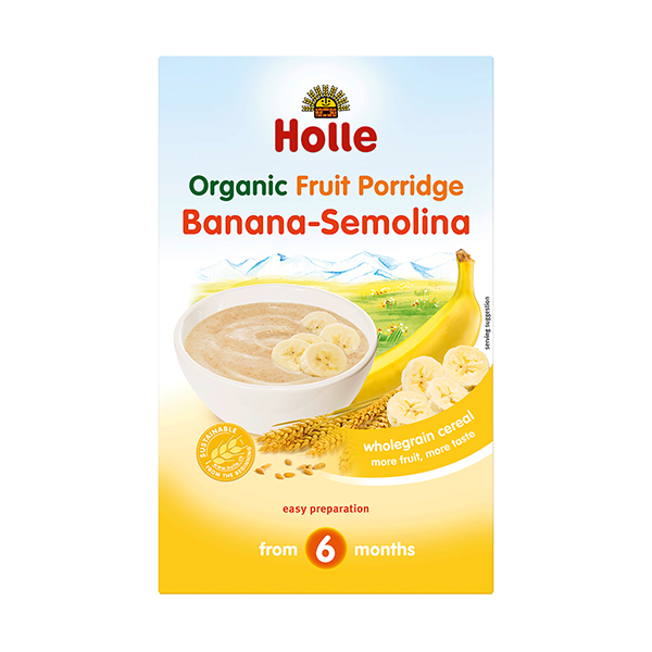 Holle Organic Fruit Porridge Banana-Semolina (crumpled corners)