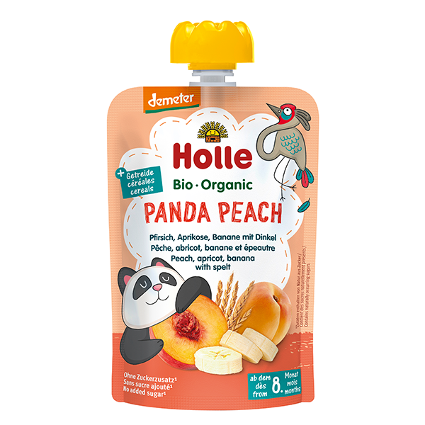 Holle Organic Baby Food Pouches - Panda Peach