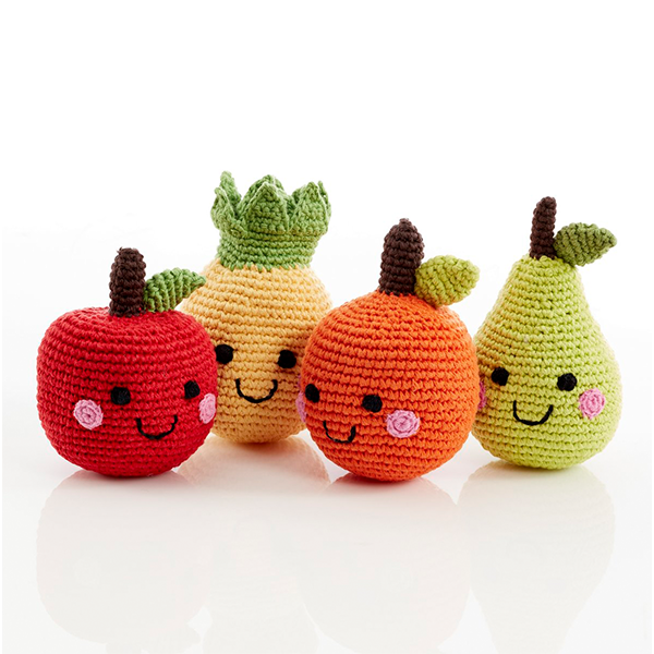 Friendly Fruit Baby Rattle Set of 4