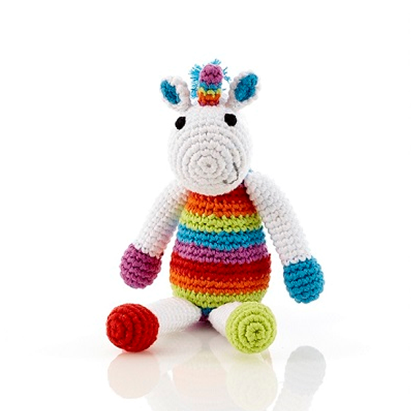 Multi Coloured Unicorn Baby Rattle