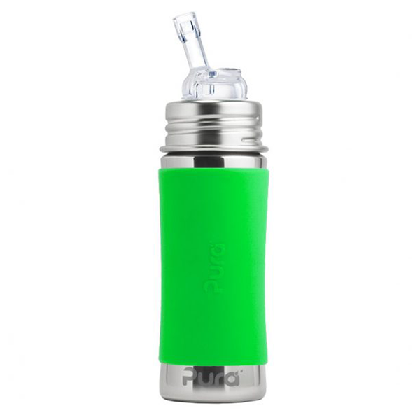 Pura Kiki 11oz Straw Bottle - Green Sleeve