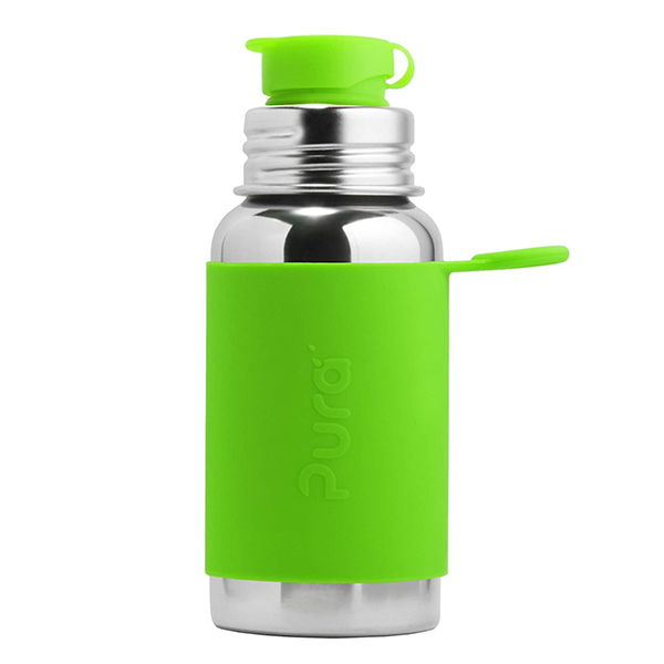 Pura Sports Top 18oz Stainless Steel Bottle - Green Sleeve