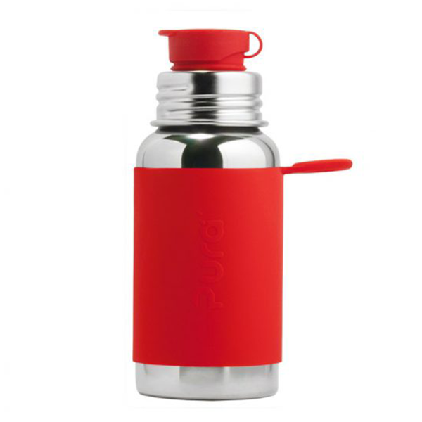 Pura Sports Top 18oz Stainless Steel Bottle - Red Sleeve