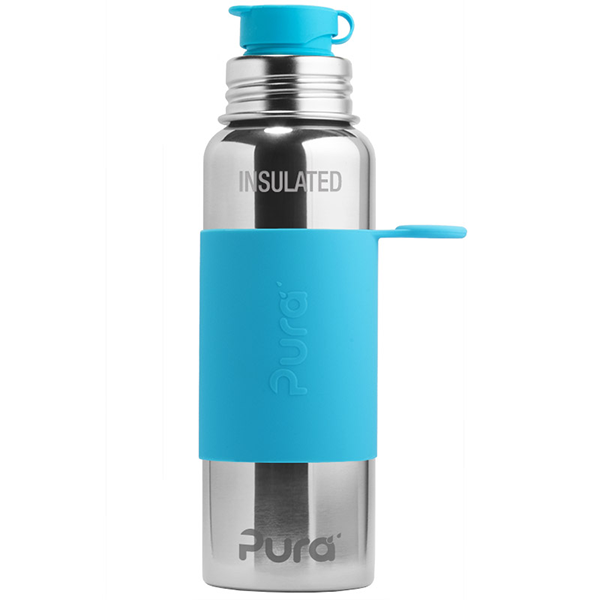 Pura Sports Top 22oz Vacuum Insulated Bottle - Aqua Sleeve