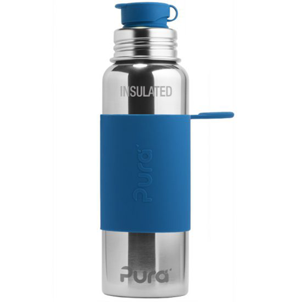 Pura Sports Top 22oz Vacuum Insulated Bottle - Steel Blue Sleeve