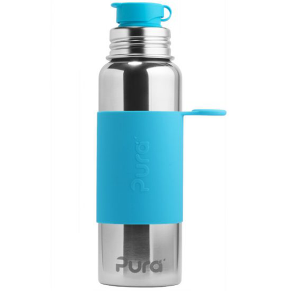 Pura Sports Top 28oz Stainless Steel Bottle - Aqua Sleeve