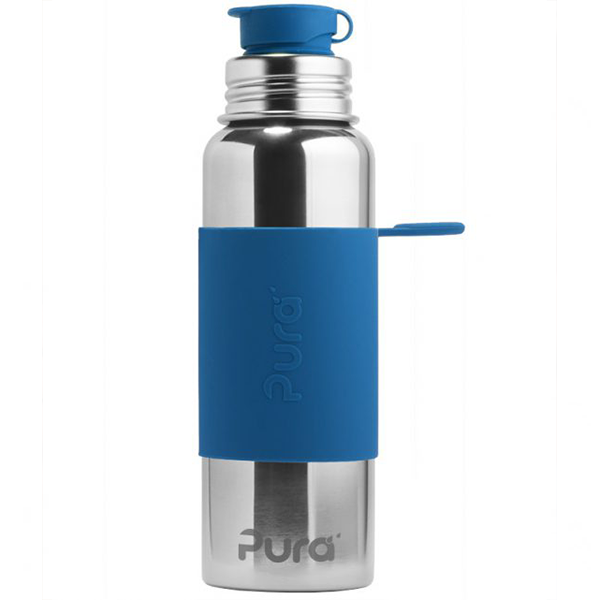 Pura Sports Top 28oz Stainless Steel Bottle - Blue Sleeve