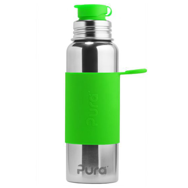 Pura Sports Top 28oz Stainless Steel Bottle - Green Sleeve