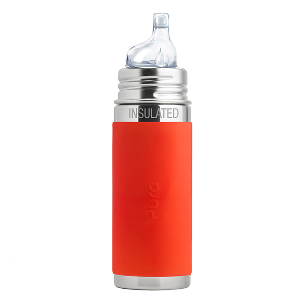Pura Kiki 9oz Vacuum Insulated Sippy Bottle - Orange Sleeve