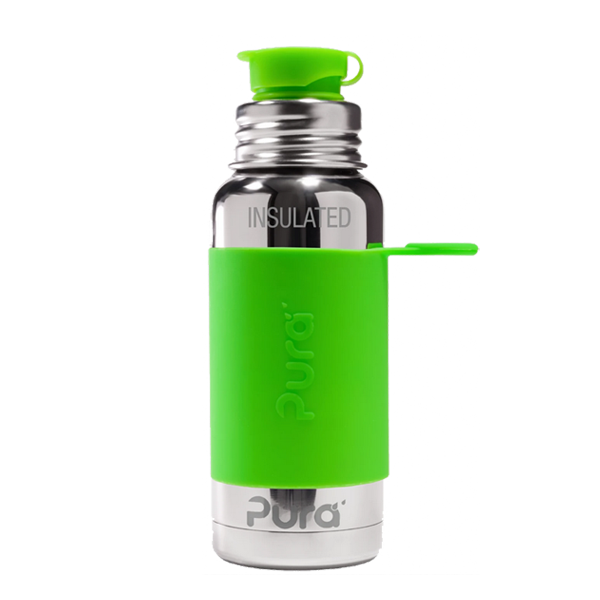 Pura Sports Top 16oz Vacuum Insulated Bottle - Green Sleeve