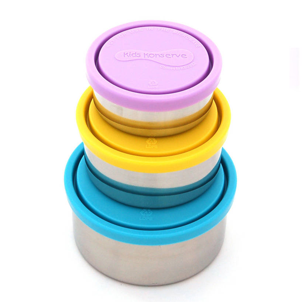 Round Nesting Trio Stainless Steel Containers - Sky