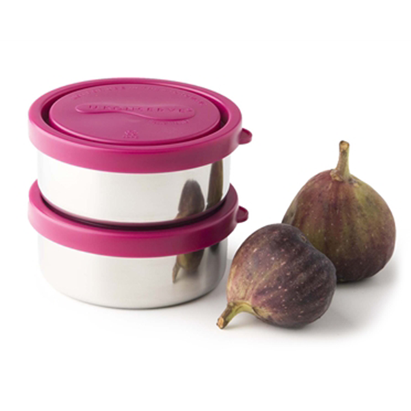 Two Small Round Stainless Steel Containers - Magenta