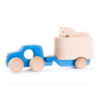 Bajo Wooden 4WD Car with Trailer & Horse - Blue