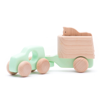 Bajo Wooden 4WD Car with Trailer & Horse - Mint