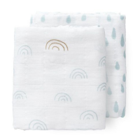 Fresk Organic Swaddle Set (2pk) - Blue Rainbow