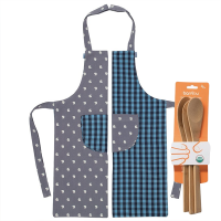 Kids Organic Apron Set Blue