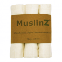 MuslinZ Bamboo & Organic Cotton Muslin Squares Unbleached (3pk)