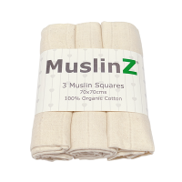 MuslinZ Organic Cotton Muslin Squares Unbleached (3pk)