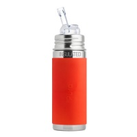 Pura Kiki 9oz Vacuum Insulated Straw Bottle - Orange Sleeve