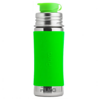Pura Sport Mini 11oz Stainless Steel Bottle - Green Sleeve