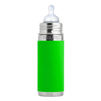 Pura Kiki 9oz Vacuum Insulated Infant Bottle - Green Sleeve