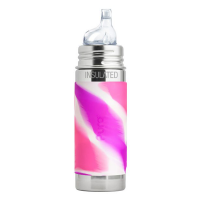Pura Kiki 9oz Vacuum Insulated Sippy Bottle -  Pink Swirl Sleeve