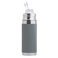 Pura Kiki 9oz Vacuum Insulated Straw Bottle - Slate Grey Sleeve