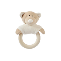 Wooly Organic Teddy Rattle with Teething Ring