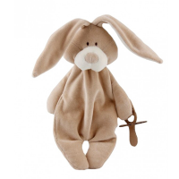 Wooly Organic Comforter Bunny with Soother Holder [Crumpled Corners]