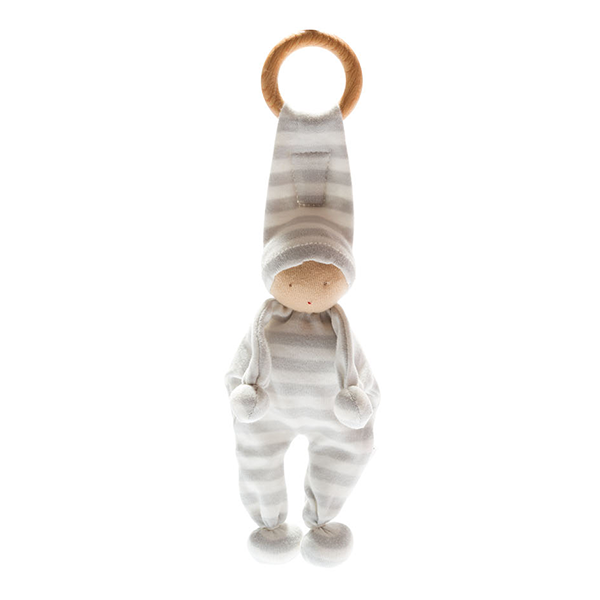 Organic Baby Buddy Grey Stripe Teething Ring