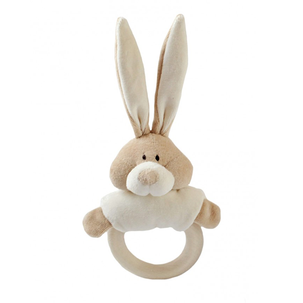 Wooly Organic Bunny Rattle with Teething Ring [crumpled corners]